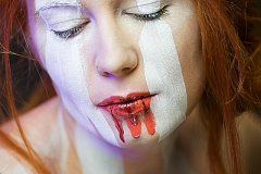 White Stripes Facepainting Bodypainting Portrait Beauty Shooting